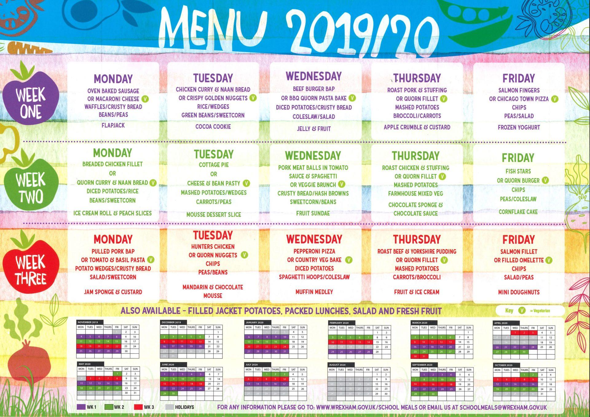 Dinner menu 19/20