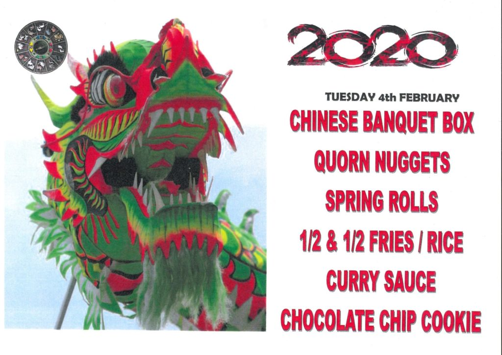 Menu for Chinese New Year theme day 4th February 2020
